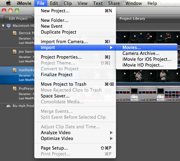 iMovie Import Movie
