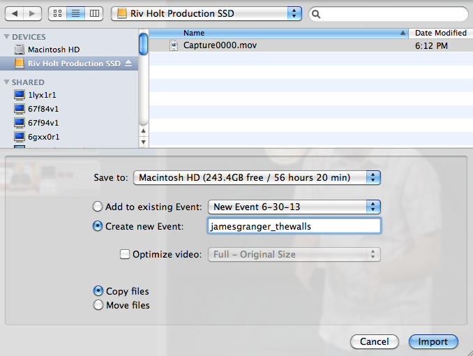 iMovie Select SSD Capture