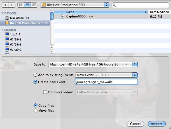 iMovie Select SSD Capture